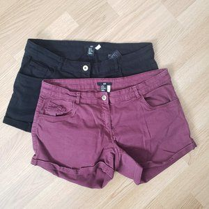 2 Pairs of H&M Shorts in Black& Burgandy Size12